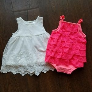 Lacy 0-3M Outfits Dress and Romper Tank White Pink